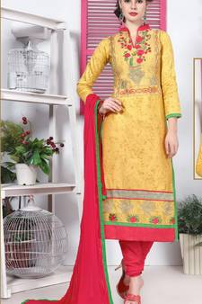 16360f373a Blissta Yellow Cotton Embroidered Straight Suit Dress Material