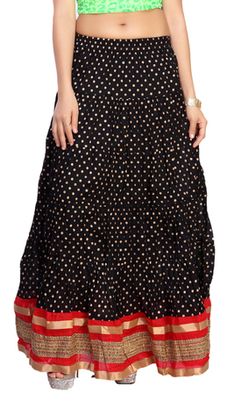 Black cotton printed free size skirts