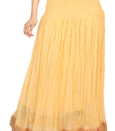 Buy Beige chiffon plain free size skirts long-skirt online