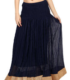 Buy Navy blue chiffon plain free size skirts long-skirt online