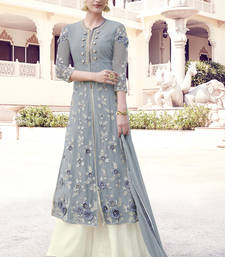 Buy Grey embroidered georgette semi stitched salwar with dupatta palazzo online