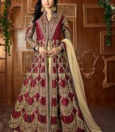Buy Dark maroon embroidered art silk semi stitched salwar with dupatta silk-salwar-kameez online