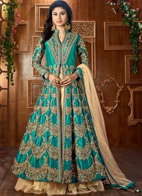 Dark green embroidered art silk semi stitched salwar with dupatta