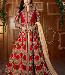 Dark red embroidered art silk semi stitched salwar with dupatta