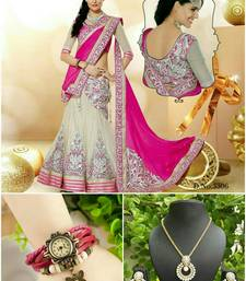 Buy Pink embroidered net unstitched lehenga gifts-for-girlfriend online