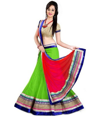 Green and Red embroidred Metti unstitched lehenga