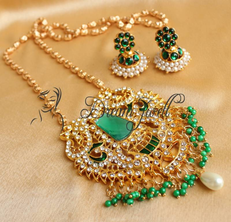 1756af421 Beautiful Green Huge Pendant Long Chain Necklace Set Dreamjwell