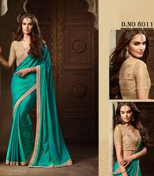Buy Green embroidered art silk saree with blouse wedding-saree online