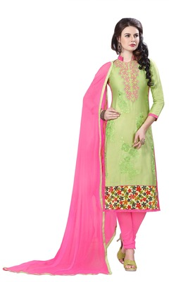 Green embroidered cotton poly unstitched salwar with dupatta