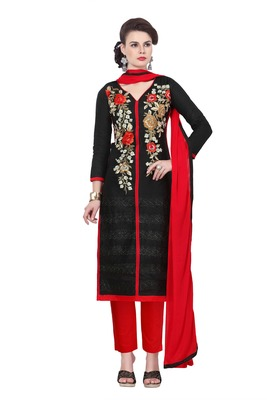 Black embroidered cotton poly unstitched salwar with dupatta