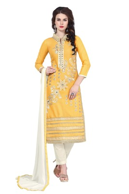Yellow embroidered cotton poly unstitched salwar with dupatta