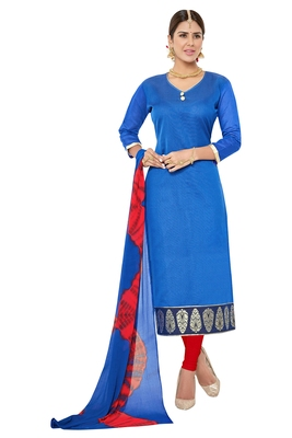 Blue embroidered faux jacquard unstitched salwar with dupatta