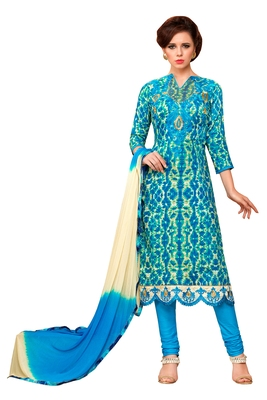 Sky blue embroidered faux cotton salwar