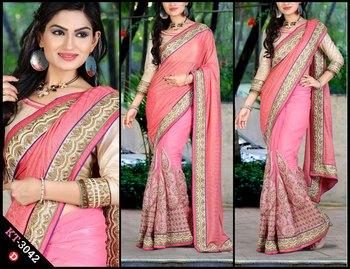 Pink designer georgette saree