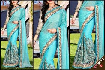 Turquoise designer georgette saree