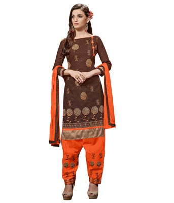 Brown embroidered faux jacquard unstitched salwar with dupatta