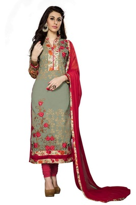 Mehendi embroidered cotton poly unstitched salwar with dupatta