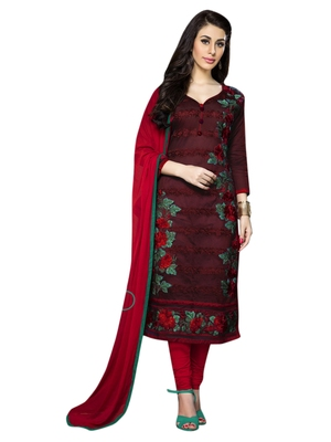 Maroon embroidered cotton poly unstitched salwar with dupatta