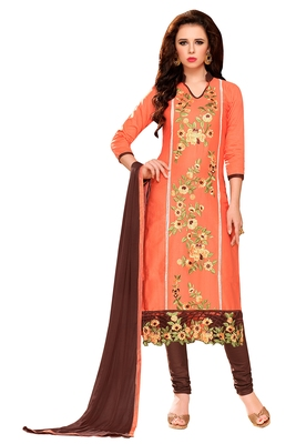 Peach embroidered cotton poly unstitched salwar with dupatta