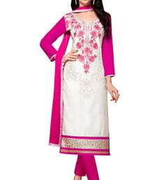 White embroidered cotton poly unstitched salwar with dupatta