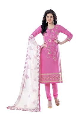 Pink embroidered cotton poly unstitched salwar with dupatta