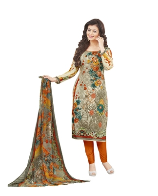 Multicolor embroidered cotton poly unstitched salwar with dupatta