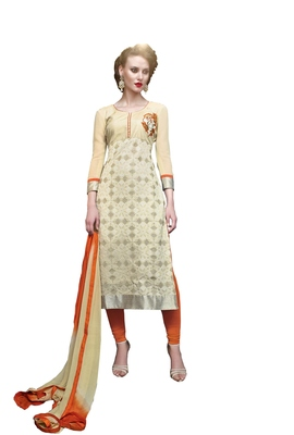 Beige embroidered faux georgette unstitched salwar with dupatta