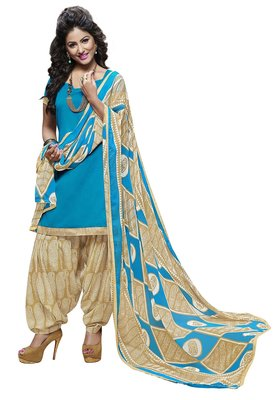 Blue embroidered cotton poly unstitched salwar with dupatta