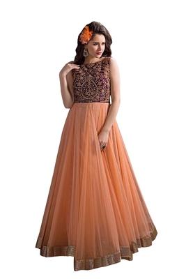 Orange embroidered faux net unstitched salwar with dupatta