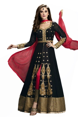 Black embroidered faux georgette unstitched salwar with dupatta