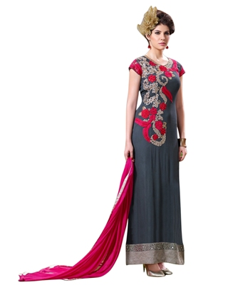 Grey embroidered faux georgette unstitched salwar with dupatta