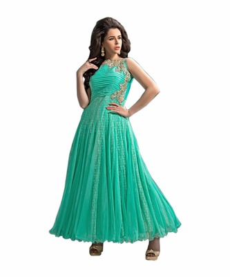 Green embroidered faux net unstitched salwar with dupatta