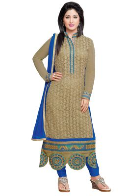 Brown embroidered faux georgette unstitched salwar with dupatta