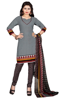 Grey embroidered faux crepe unstitched salwar with dupatta