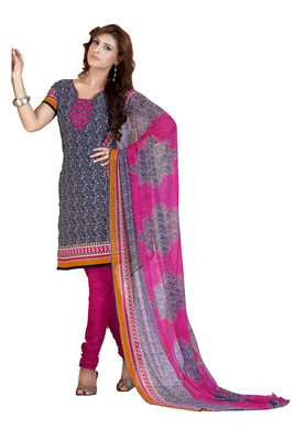 Multicolor embroidered faux crepe unstitched salwar with dupatta