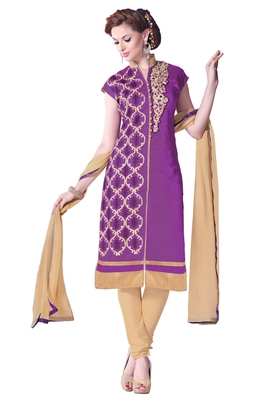 Purple embroidered cotton poly unstitched salwar with dupatta