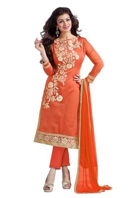 Orange embroidered cotton poly unstitched salwar with dupatta