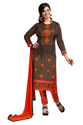 Brown embroidered cotton poly unstitched salwar with dupatta