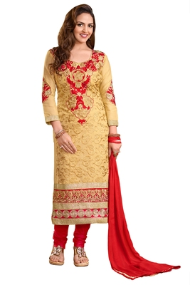 Beige embroidered cotton poly unstitched salwar with dupatta