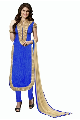 Blue embroidered faux silk blend unstitched salwar with dupatta