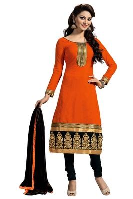 Orange embroidered faux chanderi unstitched salwar with dupatta