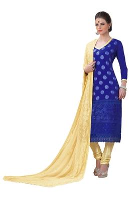 Blue embroidered chiffon unstitched salwar with dupatta