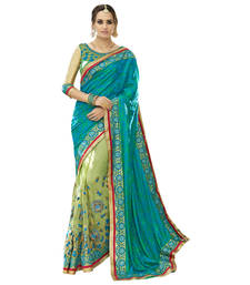 Buy Green embroidered art silk saree with blouse jacquard-saree online