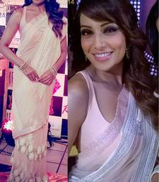 Buy Light purple embroidered net saree with blouse bipasha-basu-saree online