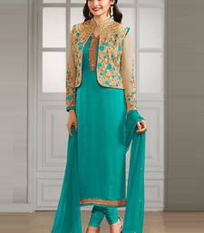 Buy Turquoise embroidered georgette semi stitched salwar with dupatta bollywood-salwar-kameez-online online