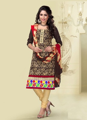 Brown embroidered cotton semi stitched salwar with dupatta