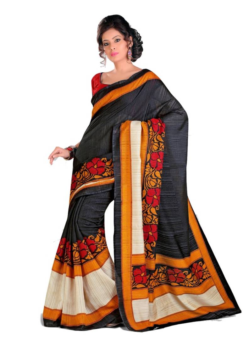 Buy multicolor printed cotton saree with blouse online for Country code 1516