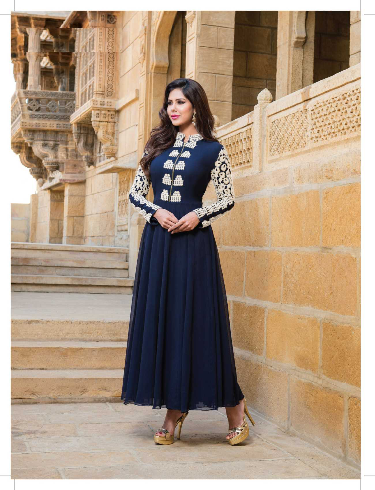 814356b7fba NAVY BLUE   WHITE EMBROIDERED GEORGETTE SEMI-STITCHED ANARKALI SUIT -  Thankar - 504700