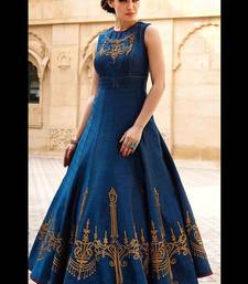 Buy Blue embroidered Silk semi stitched pary wear gown party-wear-gown online