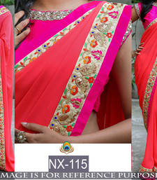 Buy Orange embroidered georgette saree with blouse organza-saree online